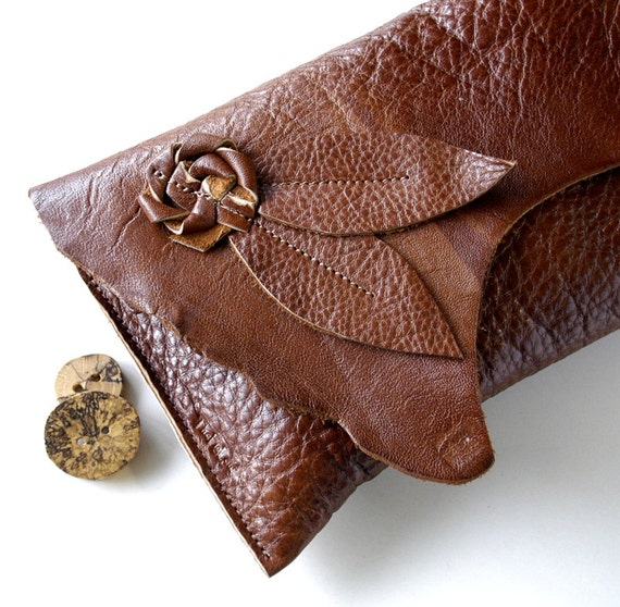 Leather Clutch - RUSTIC - Flower Bloom with Triple Cascading Leaves with Raw Edge
