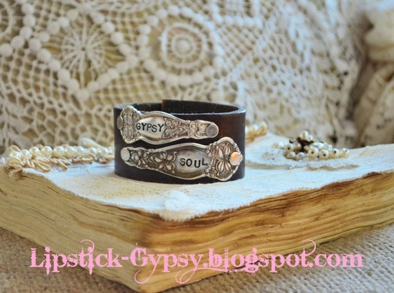 Vintage Hippie, Gypsy, Boho, Cowgirl Hand Stamped Silver Double Spoon Handle on Vintage Leather Cuff -Gypsy Soul-
