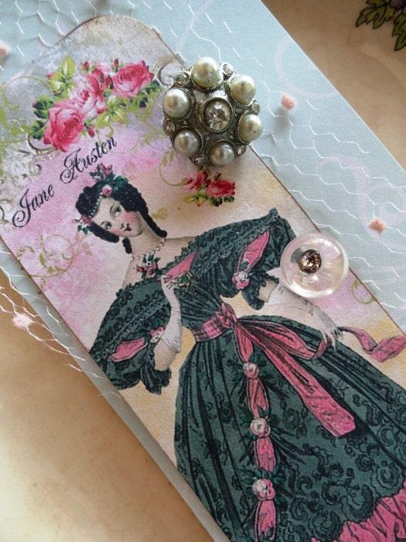 Handmade paper art, Jane Austen with vintage buttons, textiles