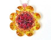 Handcrafted Sunflower Crystal Kaleidoscope Beaded Pendant