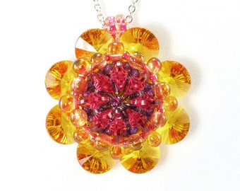 Handcrafted Sunflower Crystal Kaleidoscope Beaded Pendant