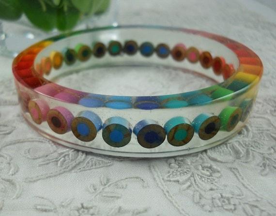 Resin Bangle - Resin Bracelet - Colored Pencil - Bangle Bracelet - Cuff  - Resin - Teacher - Color Pencil - Pencil - Multi Color Rainbow