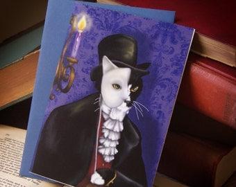 Phantom Cat, Tuxedo Cat Art, Masked Phantom of the Opera 5x7 Greeting Card