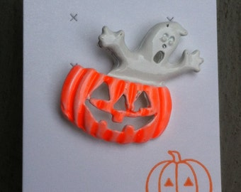 RARE 1960s-70s Vintage Halloween Pin PUMPKIN GHOST Design