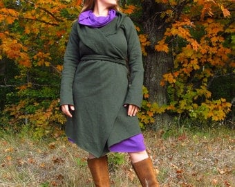Everyday Organic Fleece Wrap Jacket - Made to Order - Several Colors to Choose From