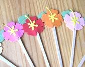 Tropical Hibiscus Cupcake Picks, Hawaii Cupcake Picks, Hawaii Wedding