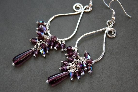 Plum Czech Glass Silverplated Paisley Earrings -FREE SHIPPING sale reg.8.00