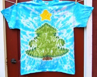 Christmas Tree Tie Dye T-shirt - Made to Order - Frosty Blue - YOUTH size XS, S, M, L