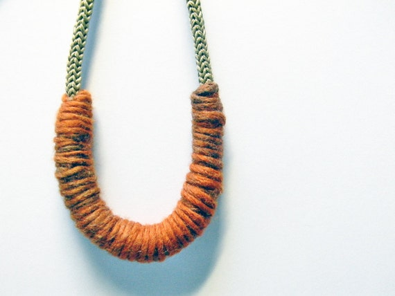 Linen beige and mixed colors knitted cotton yarn necklace Camilla , burnt orange, brown, grey, wool yarn necklace, yarn jewelry