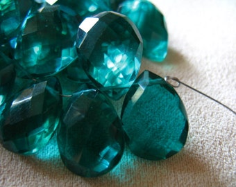 Shop Sale... 2 4 10 pcs, QUARTZ  Briolettes Beads, Pear, Luxe AAA, 13-15 mm, Teal Blue Green, Giant Faceted, brides..hydqtz26 bsc