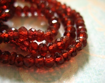 Shop  Sale.. GARNET Rondelles, Luxe AAA, Faceted, 1/2 Strand, 3-3.75 mm, Merlot Burgundy, faceted January birthstone, plum berry
