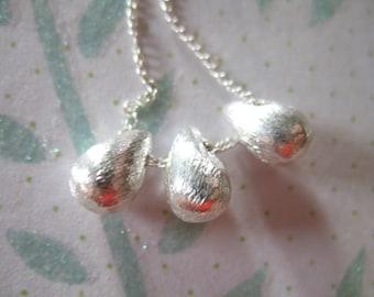 2 pcs, Sterling Silver TEARDROP Charms Pendants Drops Dangles, Brushed, 925 Silver, 9x6 mm, Petite, wholesale artisan organic td9 solo