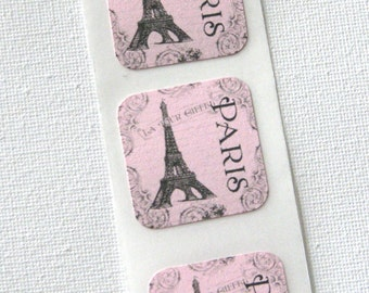 Paris Eiffel tower STICKERS for sealing envelopes set of 6