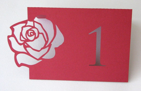 Rose table number Die cut wedding place settings set of 10 in any colour you want