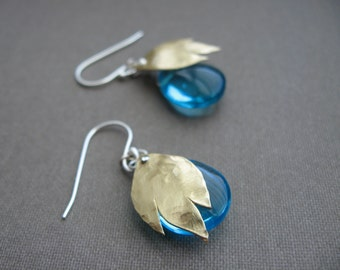 Fire and Ice - Blue ice and fire earrings - in copper or bronze