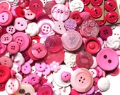 Strawberry Sundae - pretty Pink and White mix of vintage and new buttons - pack of 100