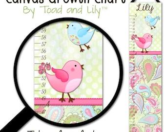 Canvas GROWTH CHART Paisley Birdie Girls Bedroom Baby Nursery Wall Art GC0163
