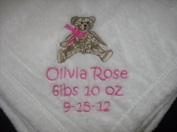 Baby Blanket Boy or Girl Birth Announcement Blanket  Name, Birth Date, Weight, Length, Personalized  5 colors to choose from Keepsake gift