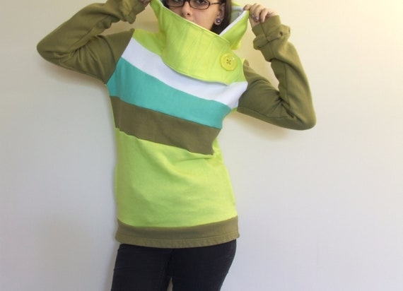 ILLUMINATION - Hoodie Sweatshirt Sweater - Recycled Upcycled - One of a Kind Women - Small/Medium