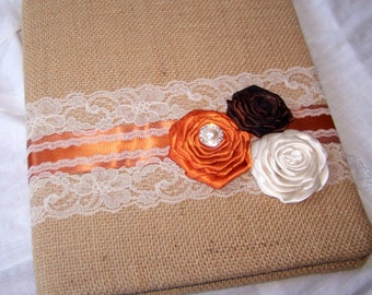 BURLAP GUEST Book, Brown and Orange Guest Book, Rustic Wedding, Ivory Lace, Custom colors available