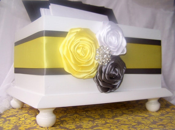 Wedding Card BOX, White Card Box, Yellow and Gray Card Box, Yellow and gray Wedding, Wooden Box, Rosette Flowers, Custom colors available