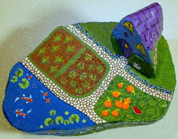 Fairy cottage, miniature, farm set, OOAK, Americana, diorama, Halloween, pumpkin, watermelon, 3D, Koi pond, hand painted rock by Rockartiste