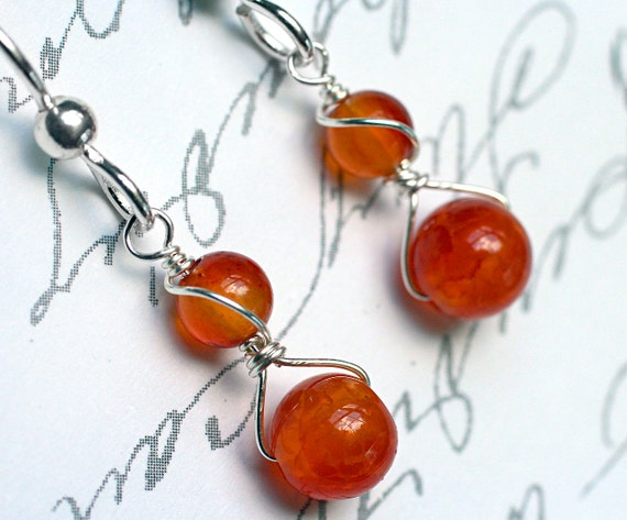 Fire Agate Earrings with Carnelian on Sterling Silver - Firesky by CircesHouse on Etsy
