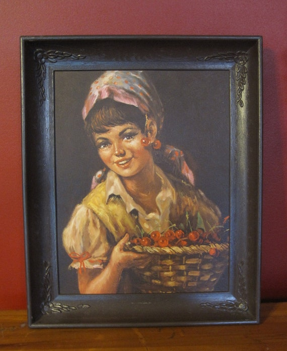 Peasant Girl with Cherries framed vintage lithograph