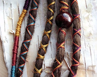 5 Custom Standard *Clip-in or Braid-in Synthetic Dreadlock Extensions Boho Dreads Hair Wraps & Bead