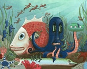 Underwater Scene with Octopus and Fish - Hi-Horse Omnibus Cover - Archival Print 11x14