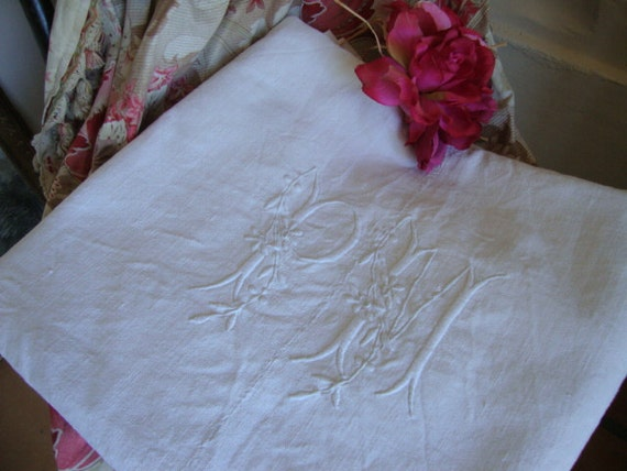 RESERVED - Gorgeous Large Vintage French Hand Loomed Linen Chanvre Sheet...huge Monogram PM ..Chateau Chic Style