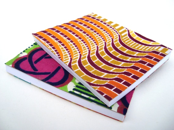 Mini Note books covered with African wax print  x 2