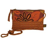 Zipper Pouch using Recycled Upholstery Fabric - Brown and Orange Flower Power W-Tan Strap - DANA
