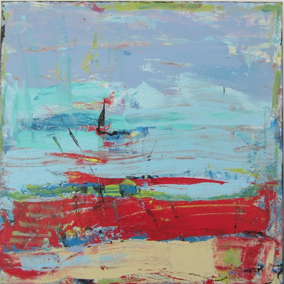 Abstract Painting, Original Hip Art, Red Blue Modern Contemporary, Red Zone, 24x24 inches, Ready to Hang