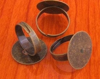 Big size 40pcs 20mm Pad brass base free nickel Adjustable antique bronze RING Base Blank widen Findings