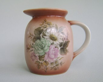 Vintage Ceramic Brown Ombre Pitcher Nancy Pew Floral