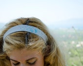 Cotton Headband Blue Embroidered Mist