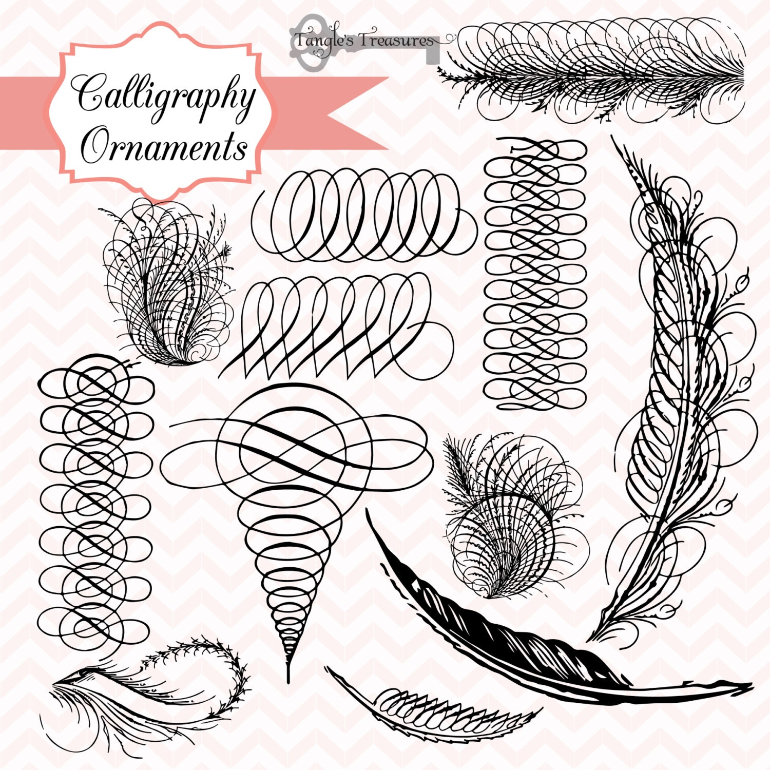 Antique Calligraphy: Vintage Calligraphy Ornaments Digital Clip Art By