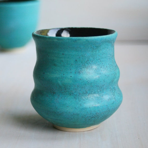 Japanese Tea Cup - Rustic Turquoise and Black Cup - Handmade Stoneware Pottery