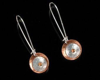 Minimalist Dangle Earrings, Unique Metal Earrings, Mixed Metal Jewelry, Handforged Earrings, Modern Earrings, Gift for Women, Ready to Ship