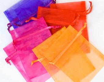 60 Organza Bags, 5x8 inch 4 Color organza bags, Red, Orange, Purple, Dark Hot Pink