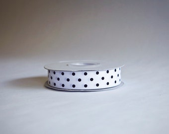 Polka Dot Grosgrain Ribbon, 25 yds. on the spool, White and Black polka dots, choose from 3 widths, 3/8ths, 5/8ths, or 7/8ths