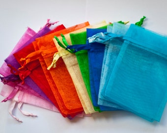 25 Organza Bags 6x9 inch Rainbow Variety, 10 colors