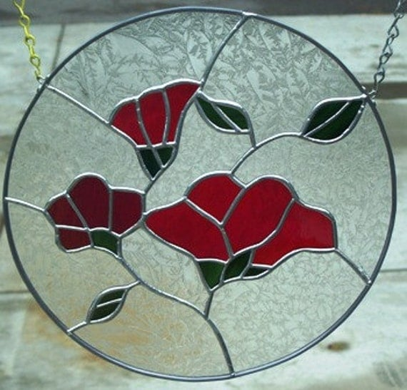 Red Morning Glory Stained Glass