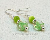 Lime Green Ribbon Lymphoma or Muscular Dystrophy Cancer Awareness Beaded Earrings