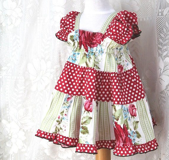 Cottage Chic Baby Dress Red Rose Childrens Clothing Baby Girl Easter Dress Baby Girl Clothes Handmade Cotton Baby Clothes 3 6 9 12 18 month