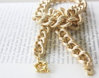 Gold Faux Pave Textured Chain Necklace