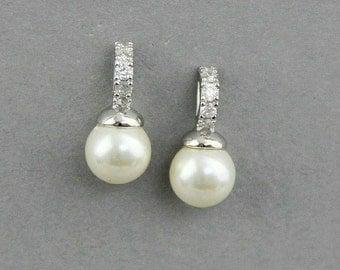 Pearl Earrings ,  Bridal Earrings , Ivory White Pearl Wedding Earrings , Stud Earrings ,Wedding Jewellery
