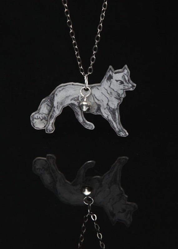 Wiley Wolf, Statement Hand Drawn Wolf Illustration Pendant and Tiny Bell on a Silver Chain (Shrink plastic/OOAK)