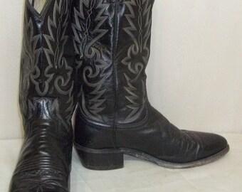 Vintage Dan Post Leather Cowboy Western Boots 8 1/2D Mens Black